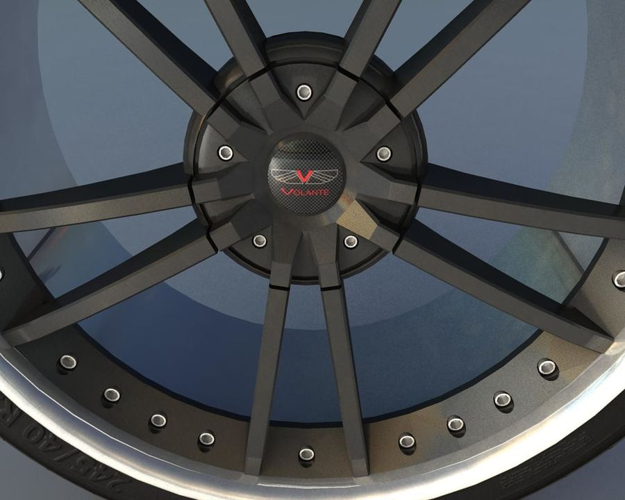 Wheel Black With Rivets royalty-free 3d model - Preview no. 3