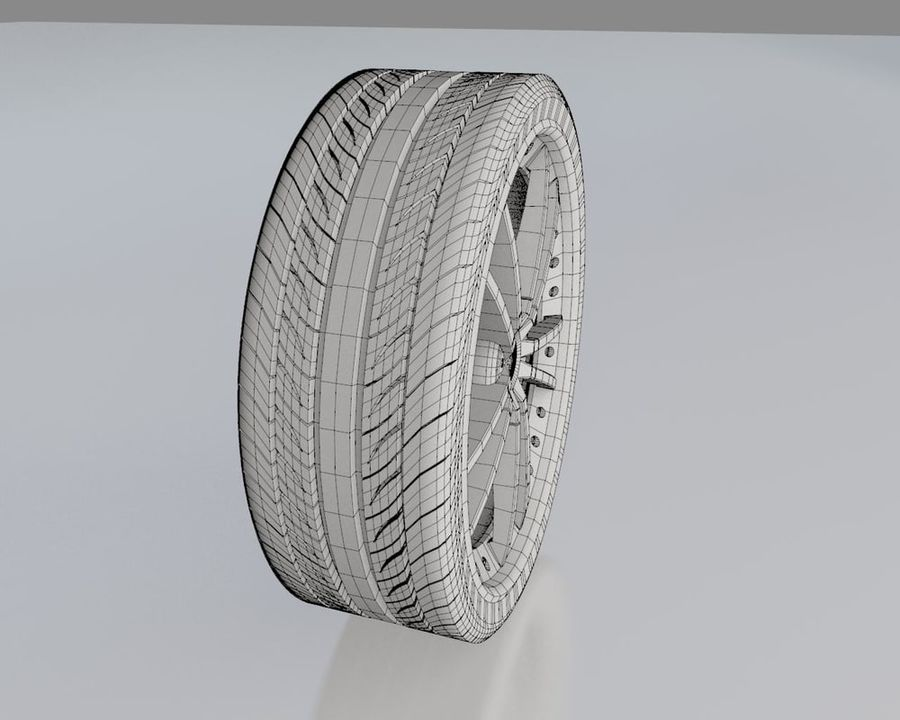 Wheel Black With Rivets royalty-free 3d model - Preview no. 7
