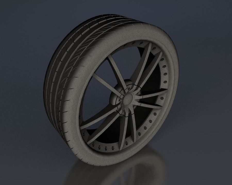 Wheel Black With Rivets royalty-free 3d model - Preview no. 5