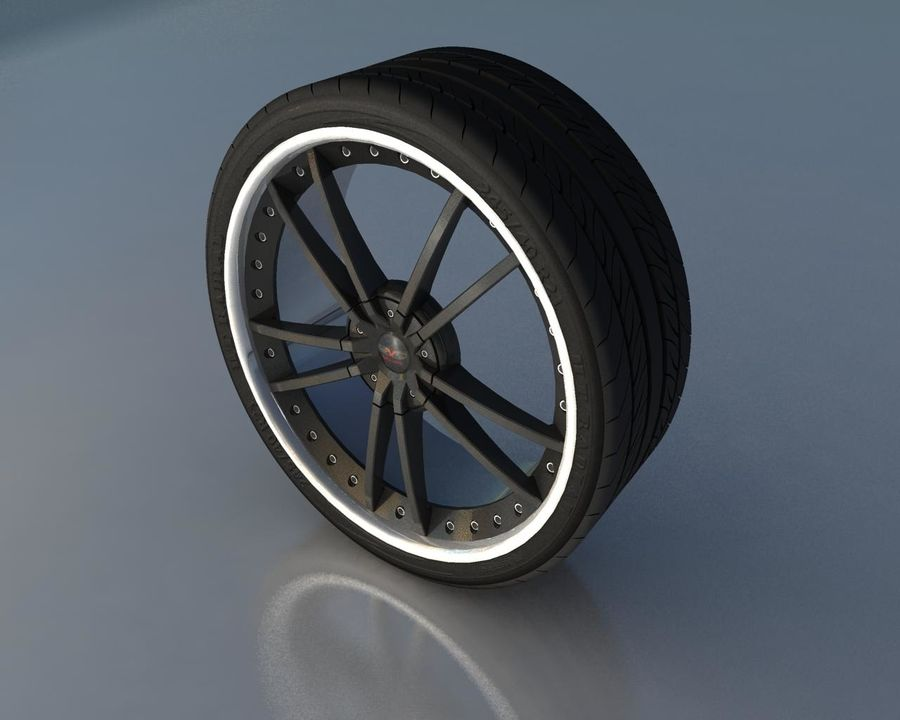 Wheel Black With Rivets royalty-free 3d model - Preview no. 2