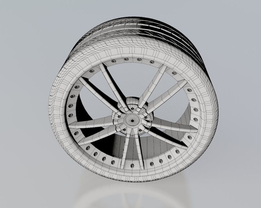 Wheel Black With Rivets royalty-free 3d model - Preview no. 6