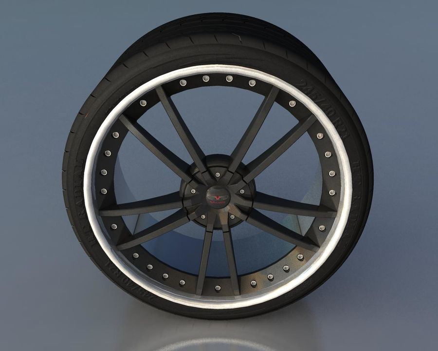 Wheel Black With Rivets royalty-free 3d model - Preview no. 1