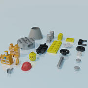 Lego man, construction worker, scene 3d model