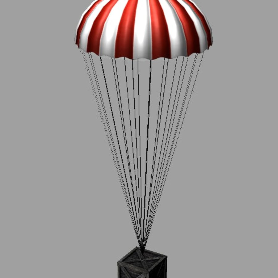 Crate with Parachute royalty-free 3d model - Preview no. 2