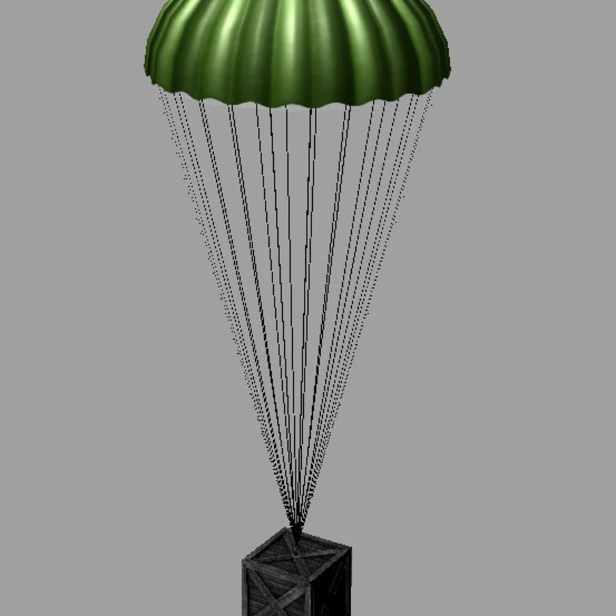 Crate with Parachute royalty-free 3d model - Preview no. 4