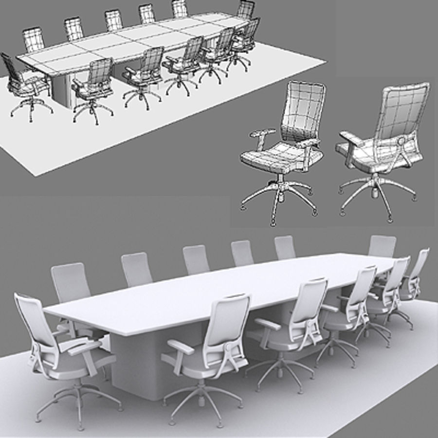Bureaustoelen & bureau royalty-free 3d model - Preview no. 1