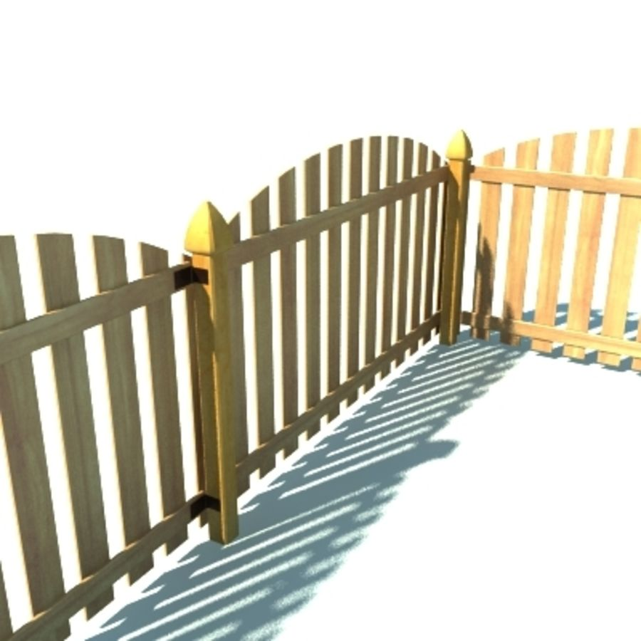 Fence Wooden with Gate royalty-free 3d model - Preview no. 3