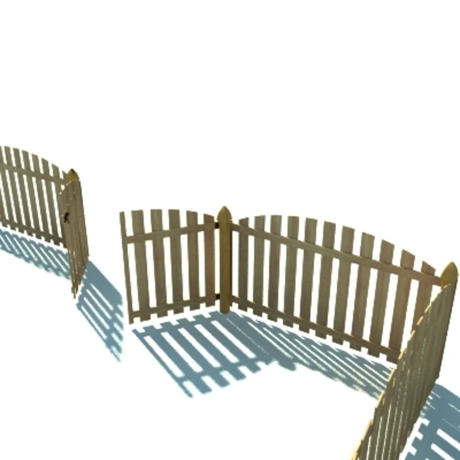 Fence Wooden with Gate royalty-free 3d model - Preview no. 5