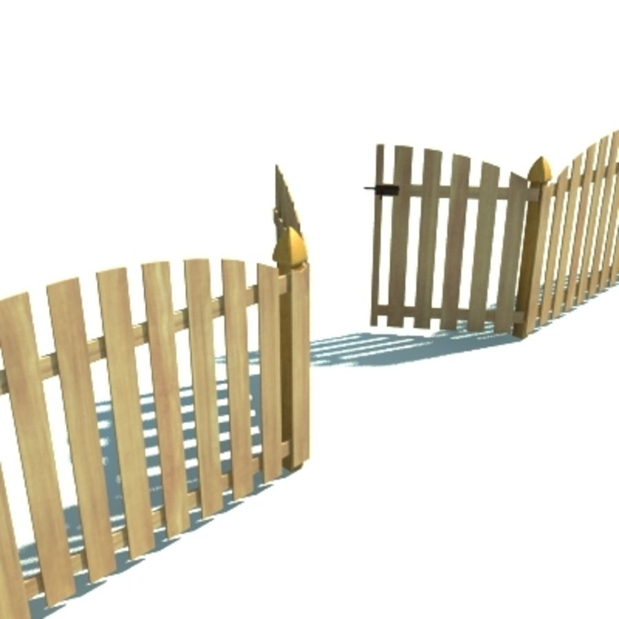 Fence Wooden with Gate royalty-free 3d model - Preview no. 6