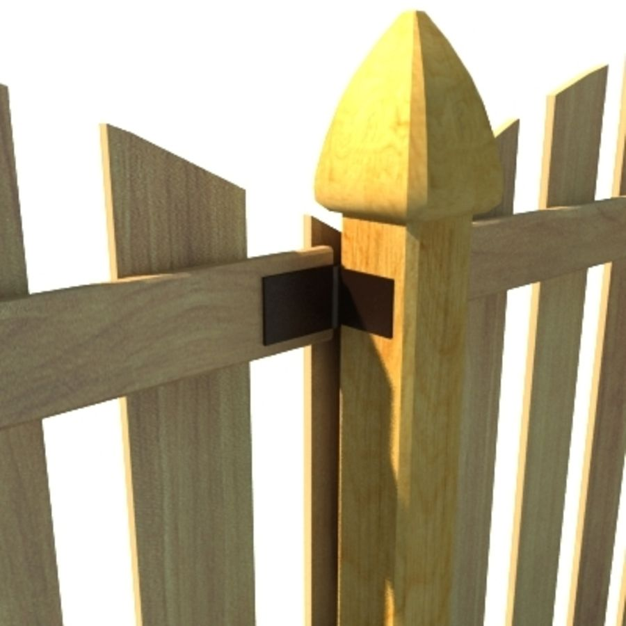 Fence Wooden with Gate royalty-free 3d model - Preview no. 4