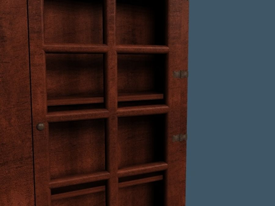 Wooden China Cabinet royalty-free 3d model - Preview no. 2