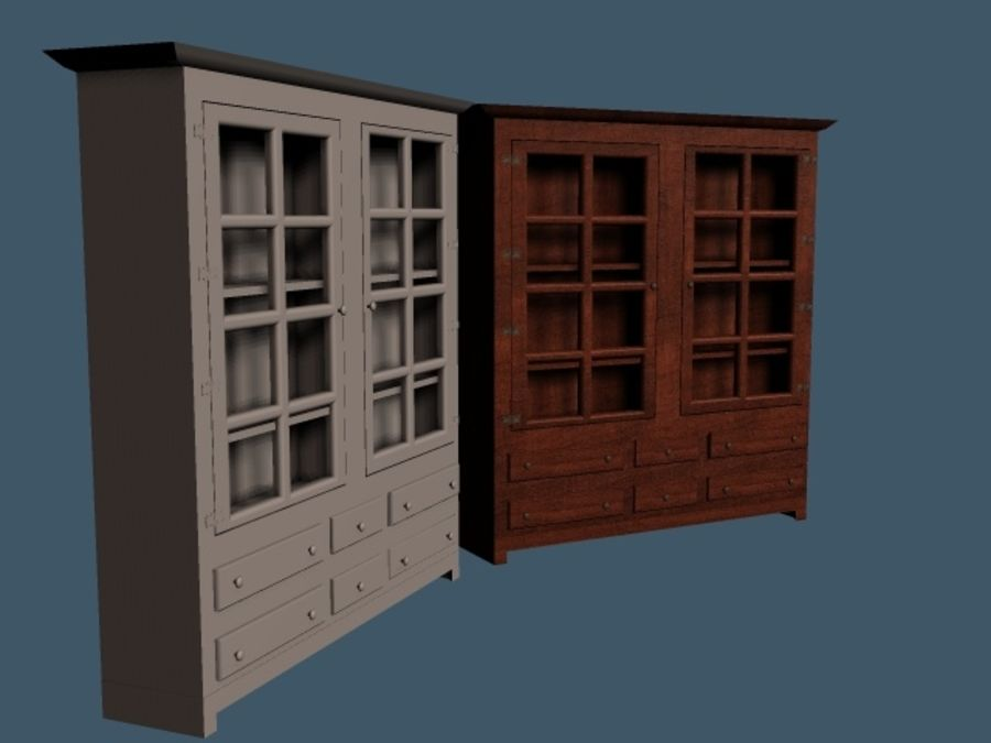 Wooden China Cabinet royalty-free 3d model - Preview no. 1