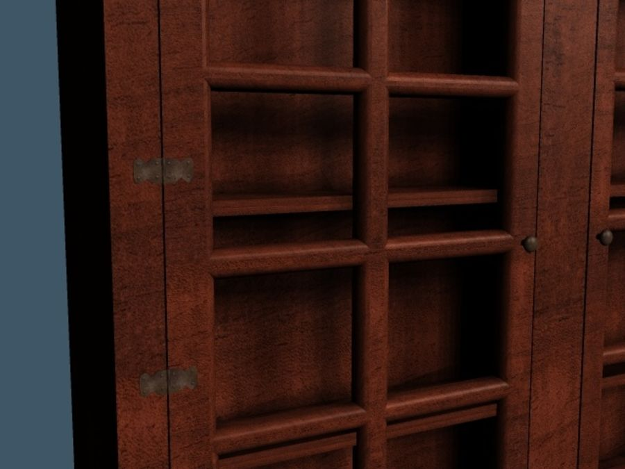 Wooden China Cabinet royalty-free 3d model - Preview no. 3