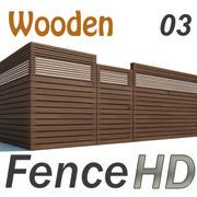Fence Wooden Fencing 3d model