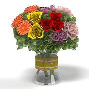 rose gerbera hydrange fashionista bloom bouquet 3d model