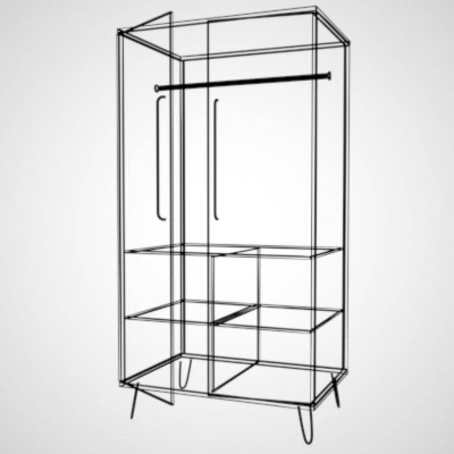 Midcentury Wardrobe royalty-free 3d model - Preview no. 3