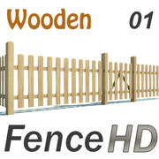 Fence - Wooden Hi Res 3d model