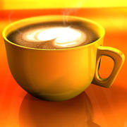 Cappuccino cup with animated particles smoke 3d model