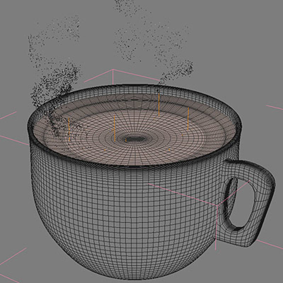 Cappuccino cup with animated particles smoke royalty-free 3d model - Preview no. 5