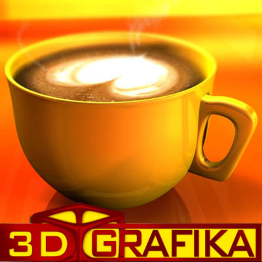 Cappuccino cup with animated particles smoke royalty-free 3d model - Preview no. 3