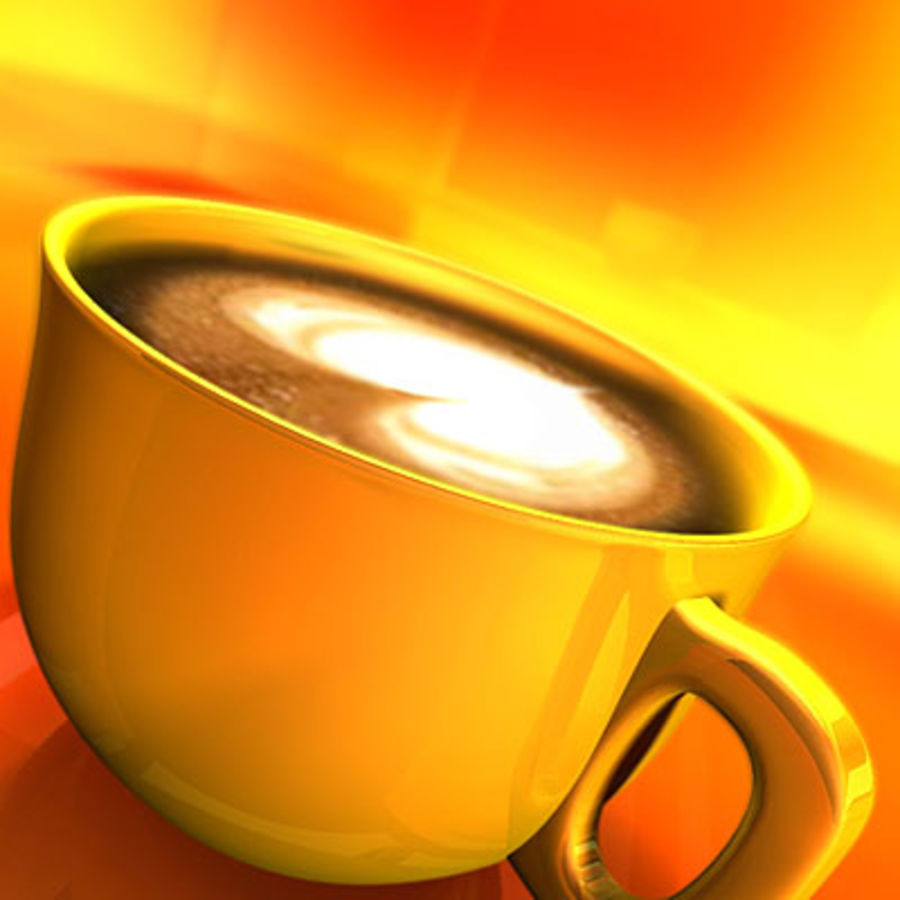 Cappuccino cup with animated particles smoke royalty-free 3d model - Preview no. 2