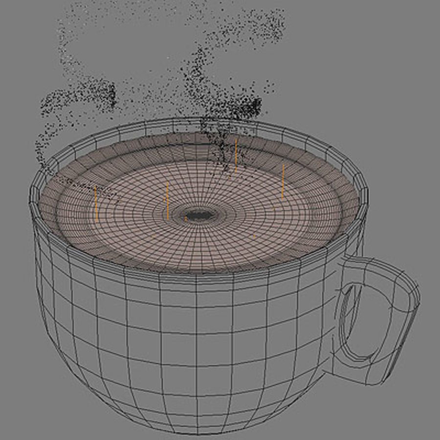 Cappuccino cup with animated particles smoke royalty-free 3d model - Preview no. 4