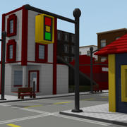 Lego Style Buildings 3d model