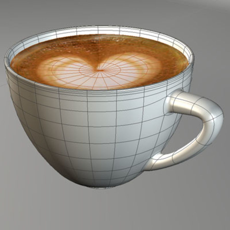 Cappuccino cup white with coffee and foam royalty-free 3d model - Preview no. 7