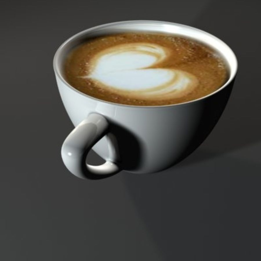 Cappuccino cup white with coffee and foam royalty-free 3d model - Preview no. 4