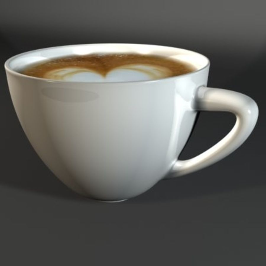 Cappuccino cup white with coffee and foam royalty-free 3d model - Preview no. 3