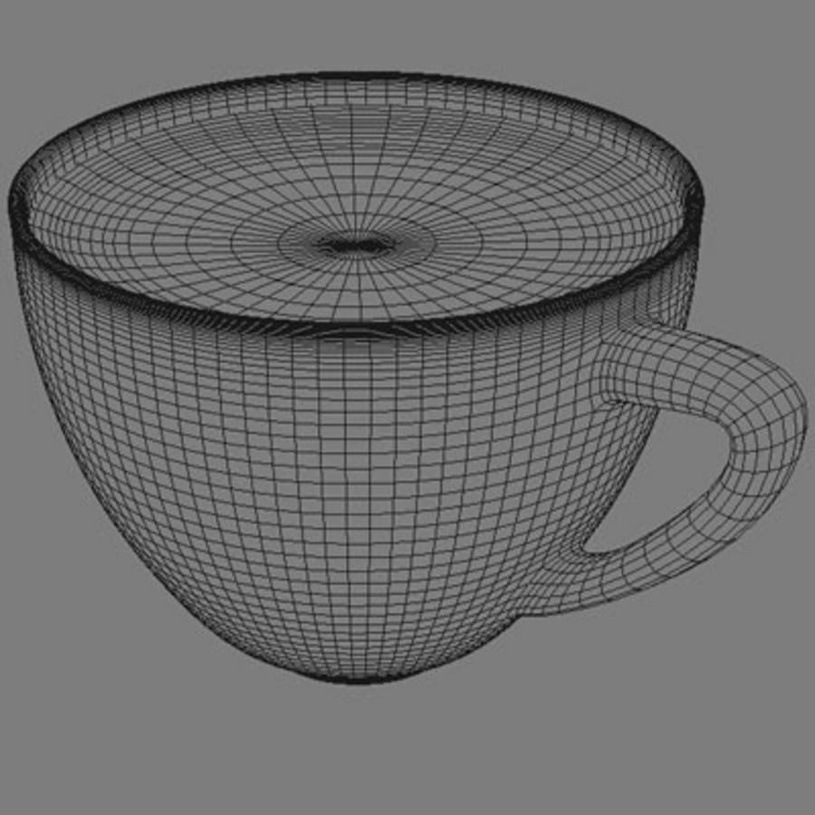 Cappuccino cup white with coffee and foam royalty-free 3d model - Preview no. 6