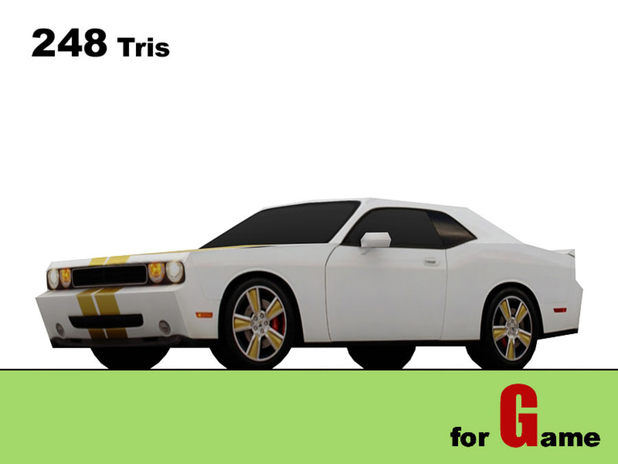 dodge challenger lowpoly royalty-free 3d model - Preview no. 1