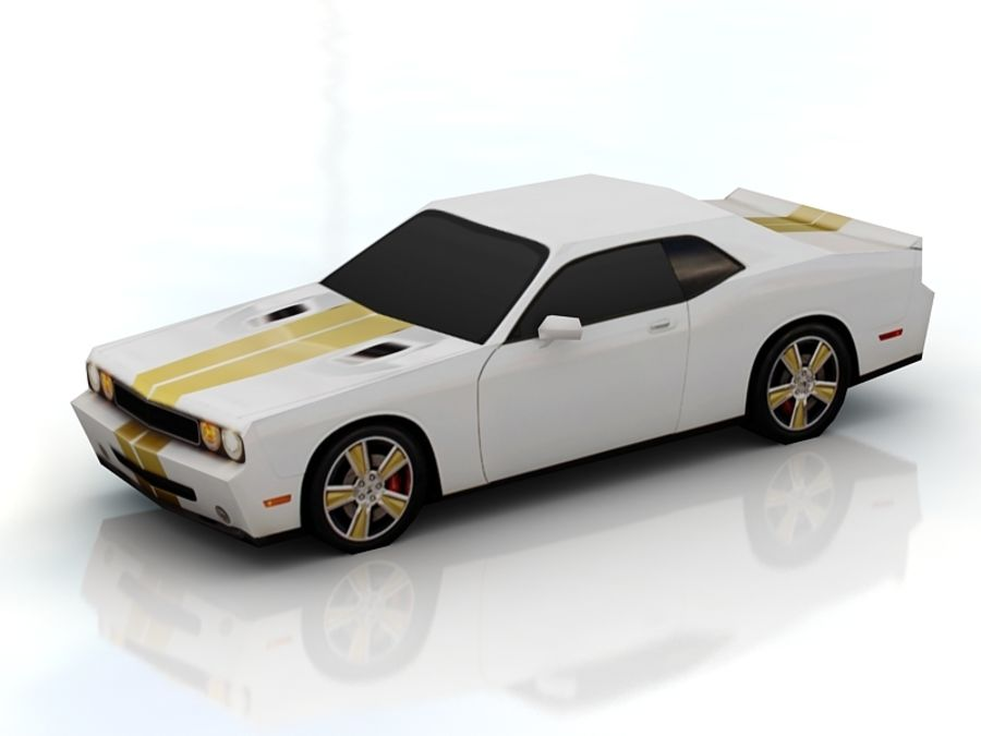 dodge challenger lowpoly royalty-free 3d model - Preview no. 2