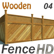 Fence Wooden Fencing HD 3d model