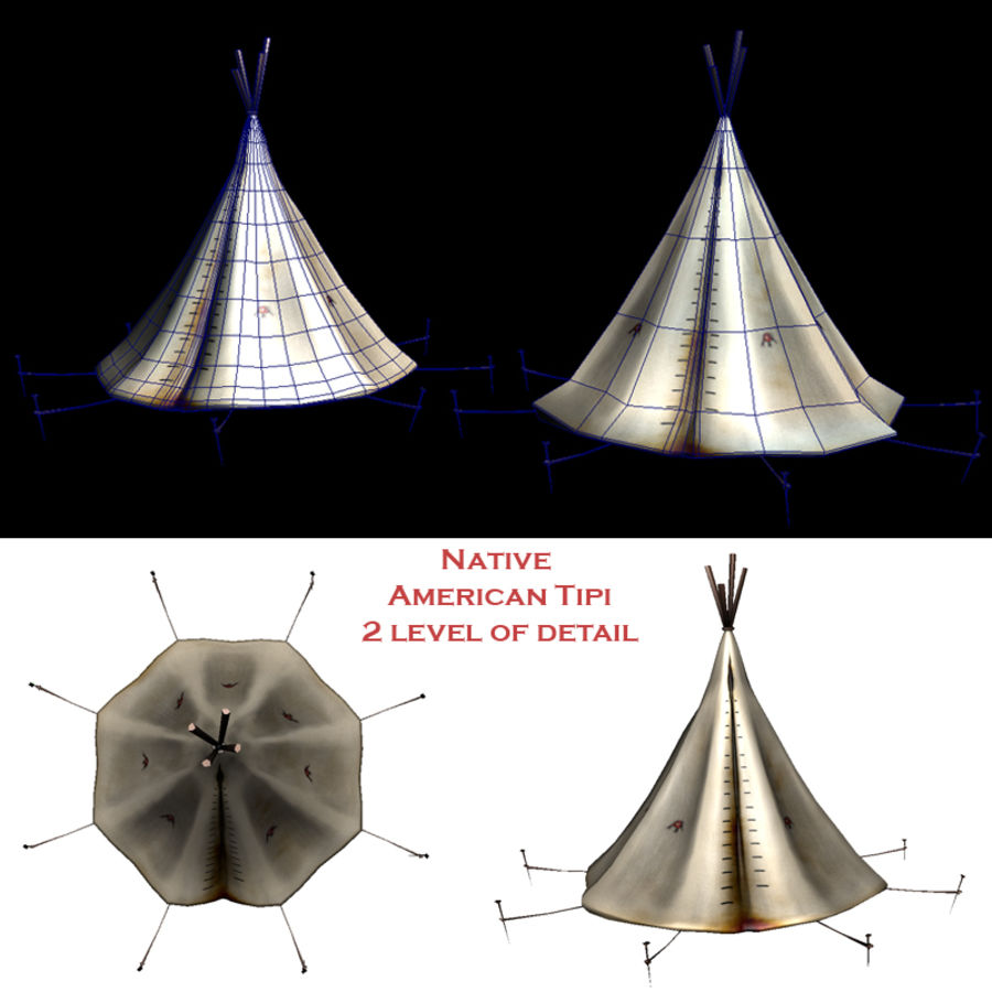 Native American Indian Tipi royalty-free 3d model - Preview no. 1