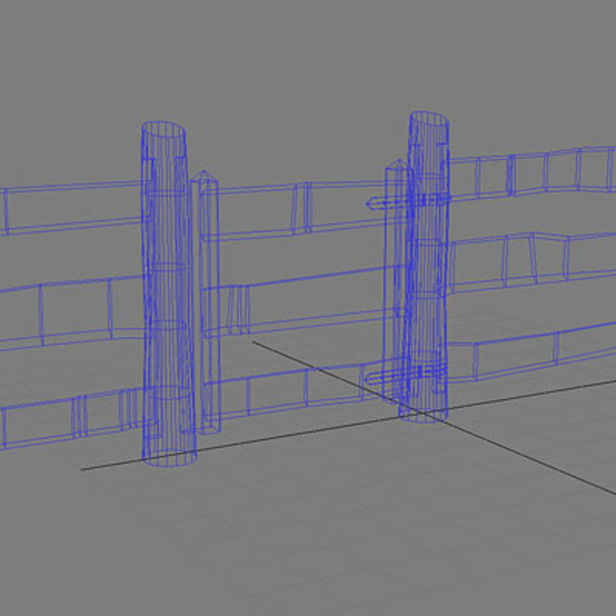 Agricultural fence royalty-free 3d model - Preview no. 6