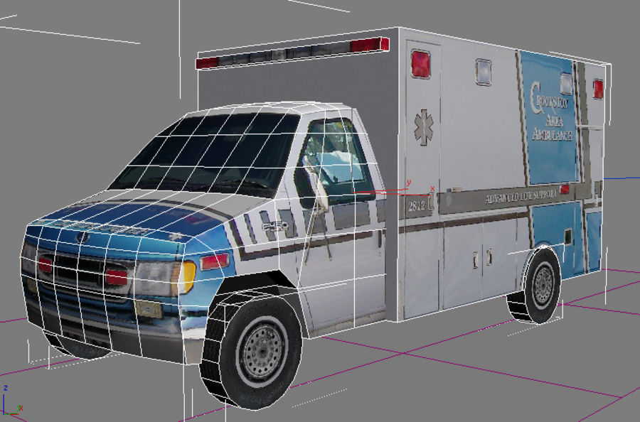 Ambulanza low poly royalty-free 3d model - Preview no. 4