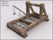 Mounted Catapult, Textured, Low Poly 3d model