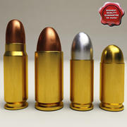 Colección de cartuchos de pistola modelo 3d