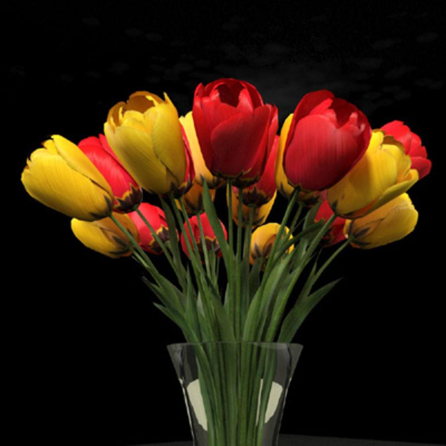 plant tulipes dans vase rouge jaune mod u00e8le 3d  20