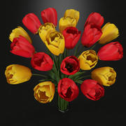 Plant Tulips In Vase Red Yellow 3d model