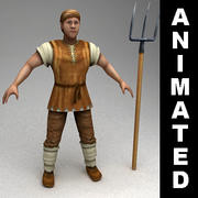 Animated peasant 3d model