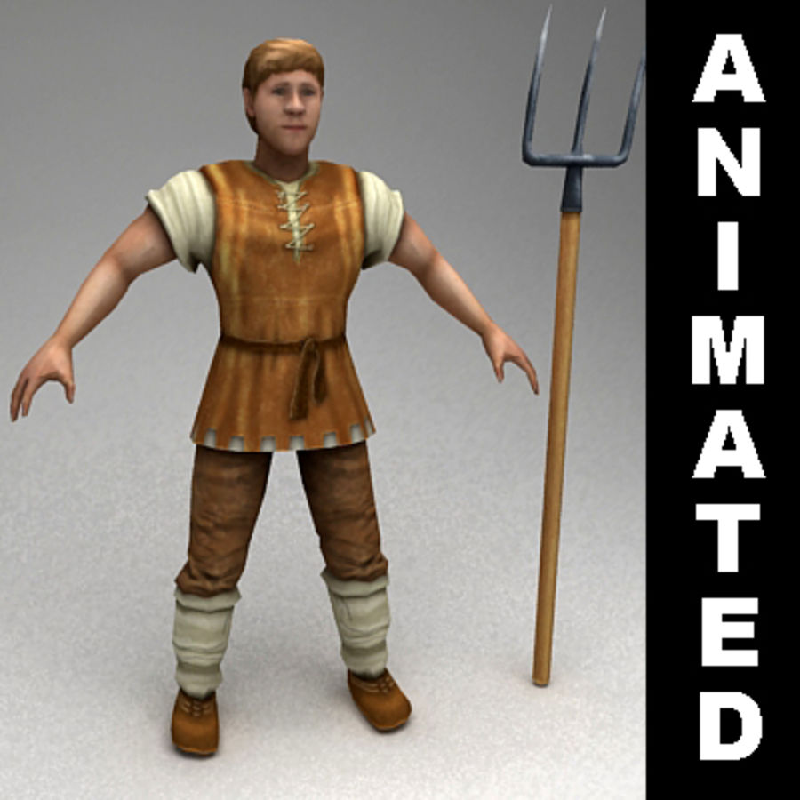 Animated peasant royalty-free 3d model - Preview no. 1