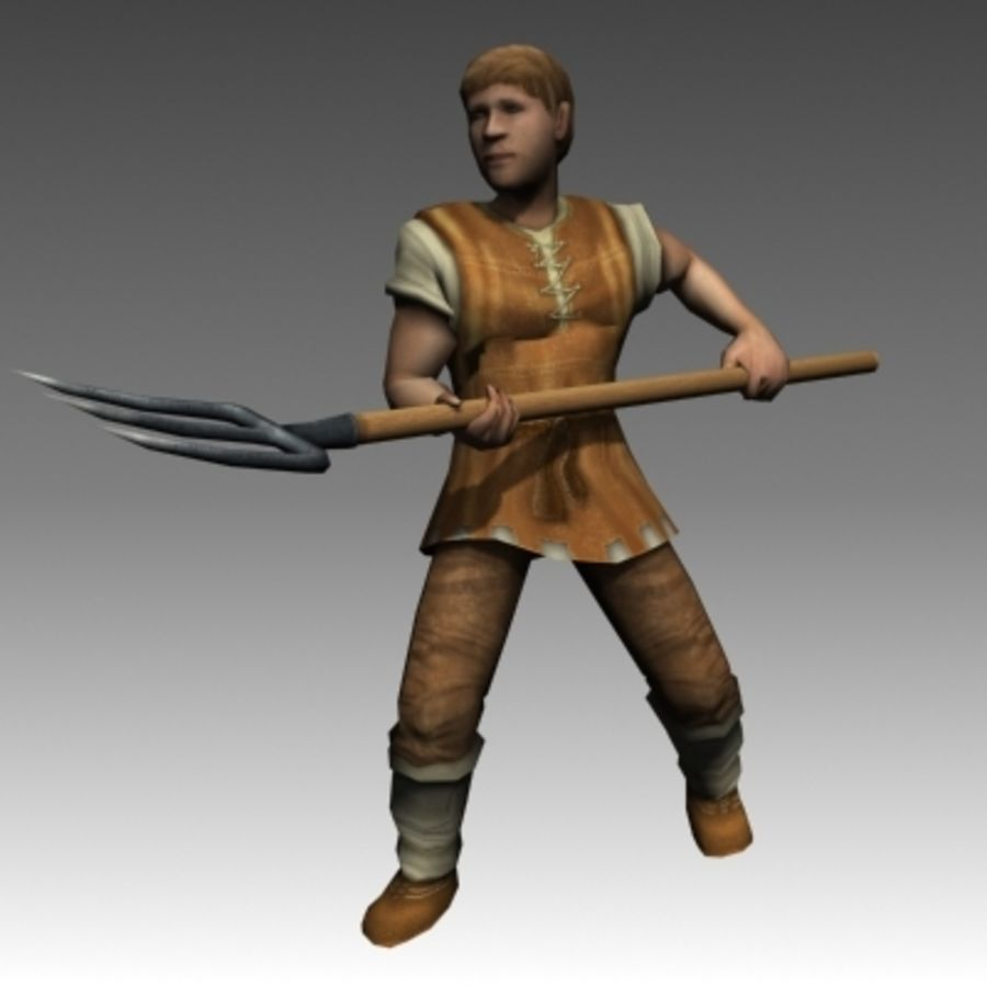 Animated peasant royalty-free 3d model - Preview no. 2