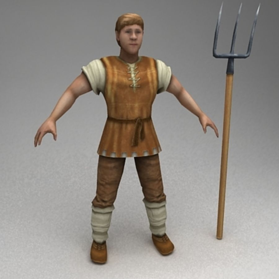 Animated peasant royalty-free 3d model - Preview no. 3