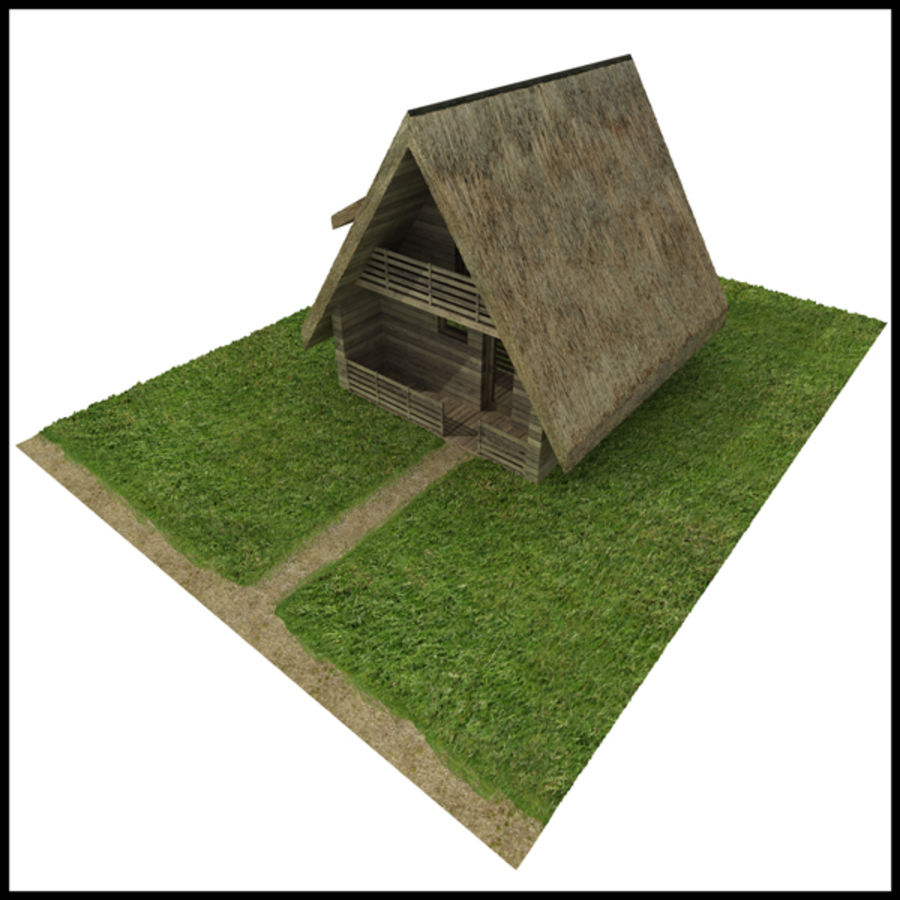 Thatched House royalty-free 3d model - Preview no. 3