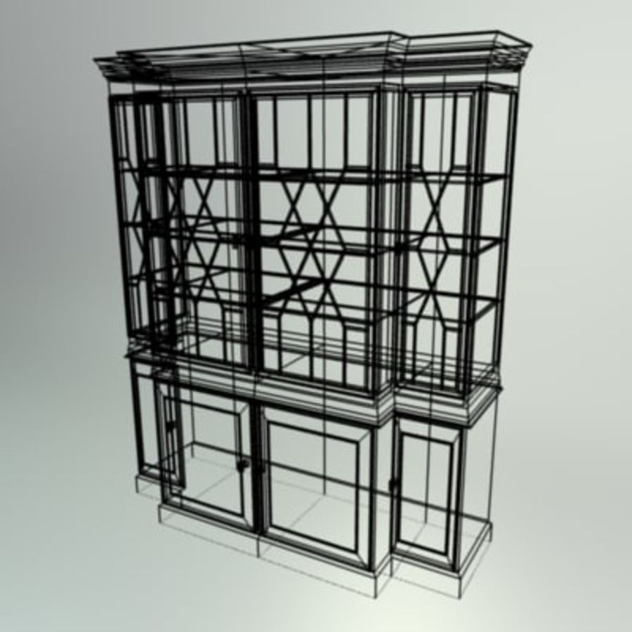 Antique China Cabinet royalty-free 3d model - Preview no. 10