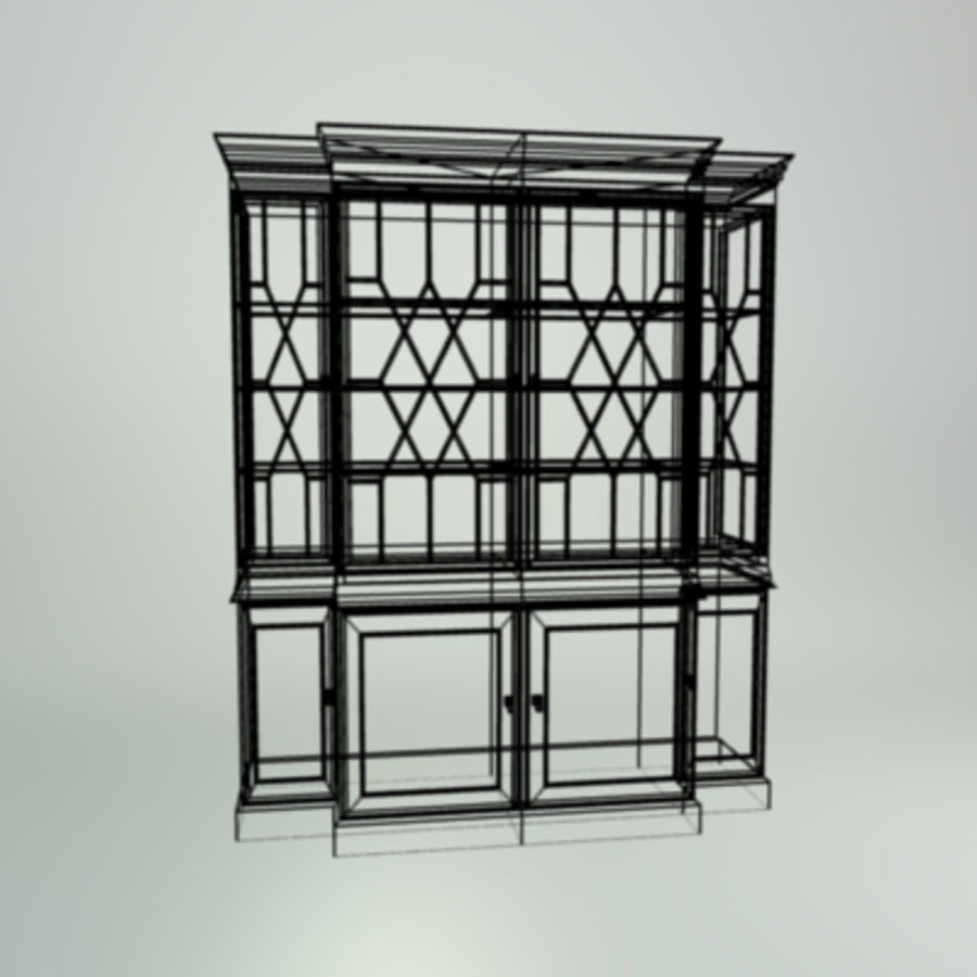 Antique China Cabinet royalty-free 3d model - Preview no. 9