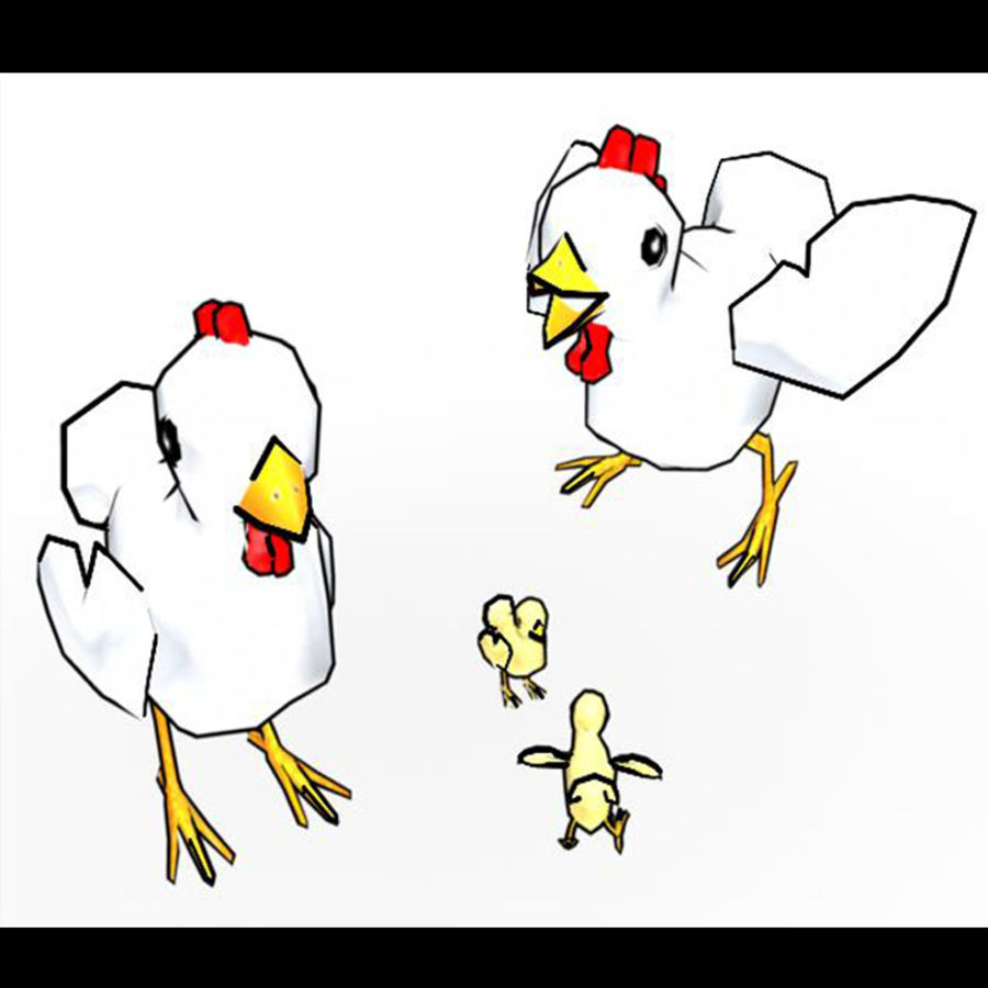 Poulet LowPoly royalty-free 3d model - Preview no. 7