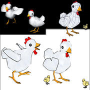 LowPoly Chickens 3d model